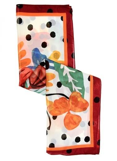 Monamoda Çiçek Desenli Fular Ekru